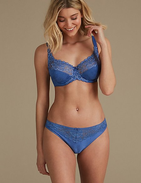 Floral Lace Non-Padded Set with Full Cup A-DD