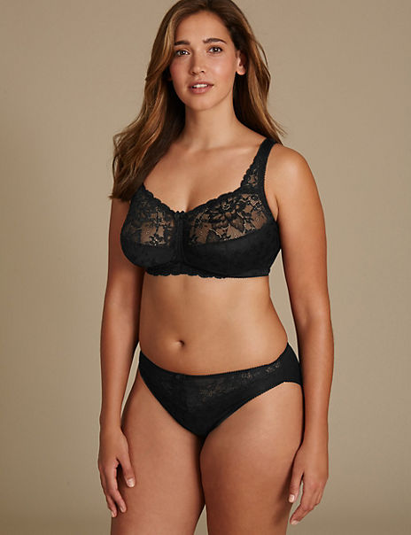 Floral Jacquard & Lace Set with Full Cup B-G