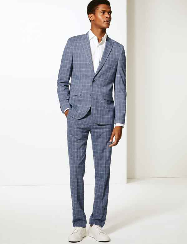 f705cbb0656 Blue Checked Skinny Fit Suit