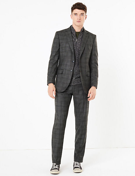Charcoal Checked Regular Fit Suit