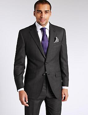 Textured Regular Fit Wool Suit, , catlanding