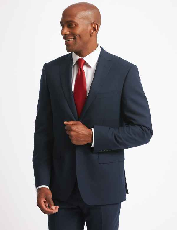 a44f6017810de8 Navy Tailored Fit Wool Suit