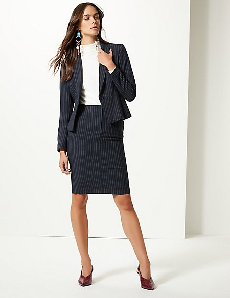Striped Blazer & Skirt Suit Set