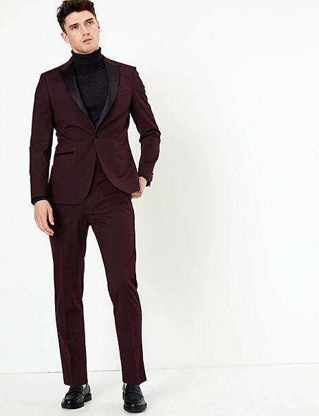 Burgundy Textured Slim Fit Suit
