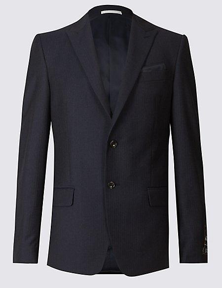 Navy Herringbone Slim Fit Wool Suit
