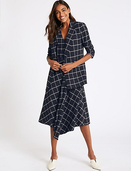 Checked Dress & Blazer Suit Set