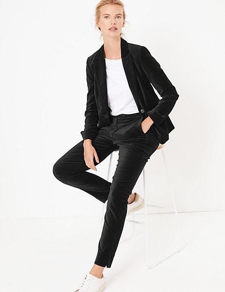 Velvet Fitted Blazer & Trousers Suit Set