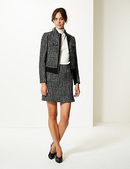 Wool Blend Textured Blazer & Skirt Suit Set