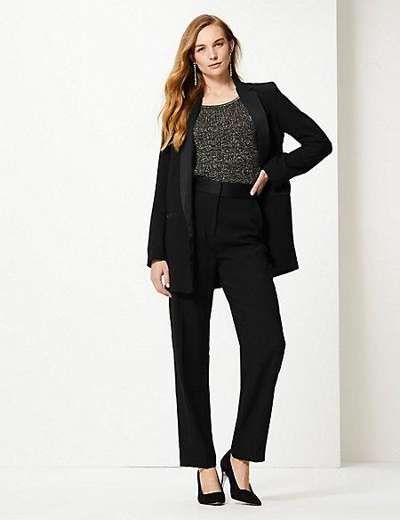 Blazer & Straight Leg Trousers Suit Set