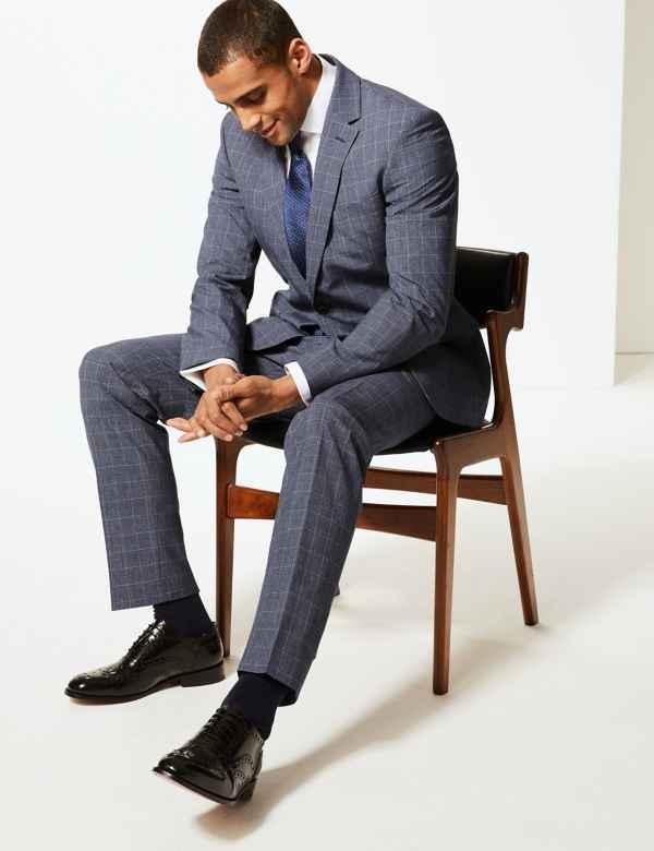 c2c7b015b93c5 Checked Slim Fit Suit