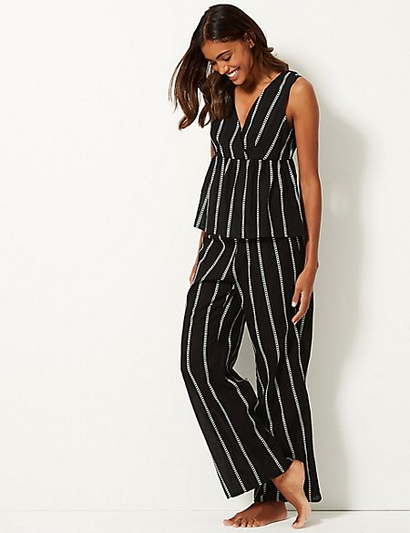 Pure Cotton Striped Beach Vest Top & Trousers Set