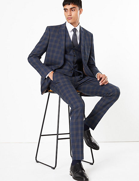Blue Checked Skinny Fit 3 Piece Suit with Stretch