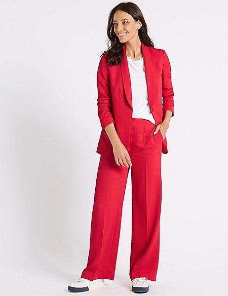 Blazer & Wide Leg Trousers Suit Set