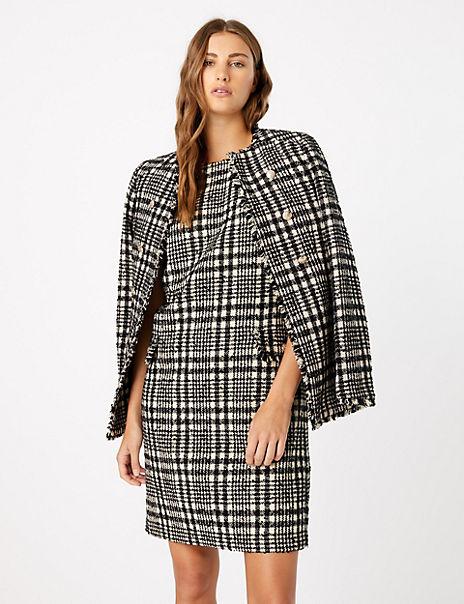 Tweed Checked Shift Dress & Blazer Suit Set