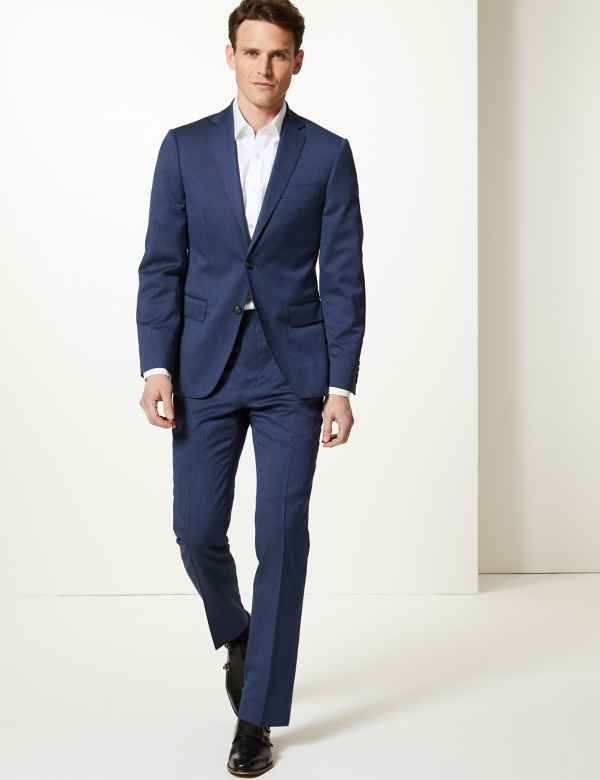 79dea2b03e85d0 Navy Striped Tailored Fit Wool Suit