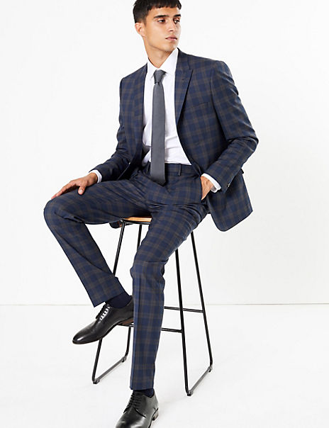 Blue Checked Skinny Fit Suit with Stretch