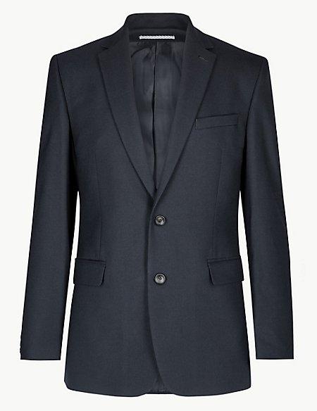 Navy Textured Regular Fit 3 Piece Suit