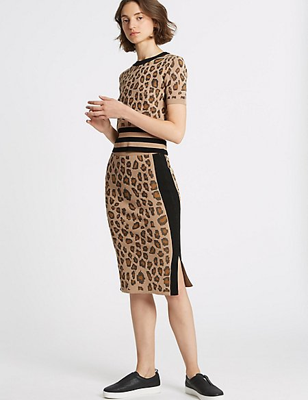 Animal Print Jumper & Pencil Skirt Suit Set