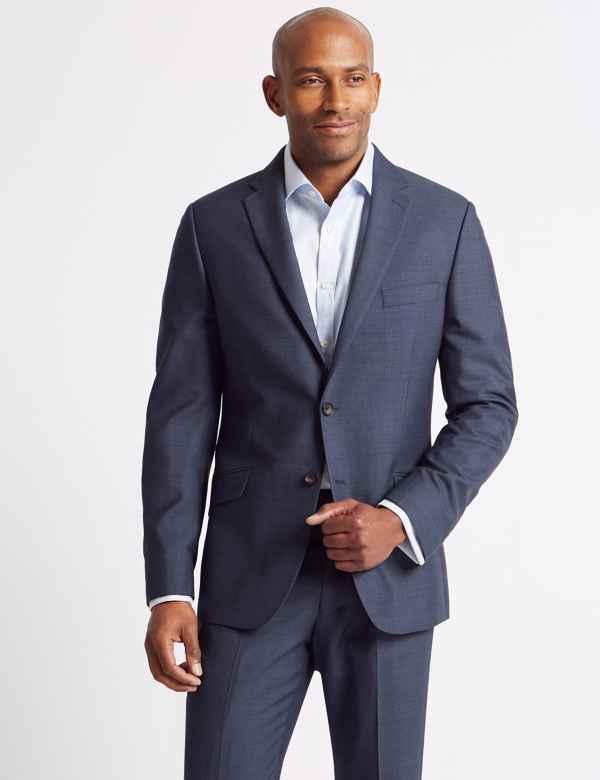 944d14b9754b Big   Tall Blue Textured Slim Fit Suit