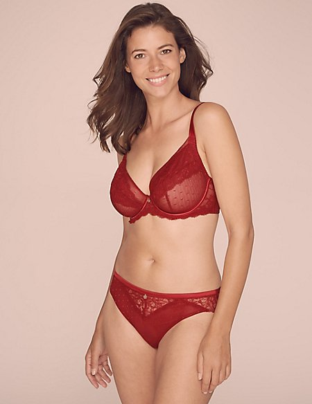 Spot Mesh & Lace Non-Padded Set with Plunge DD-G