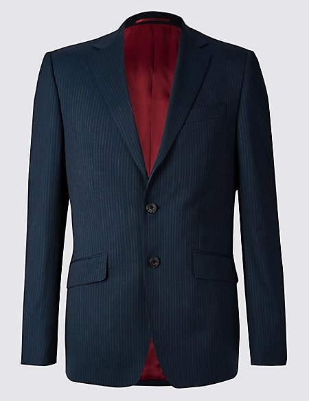 Navy Striped Regular Fit Wool Suit