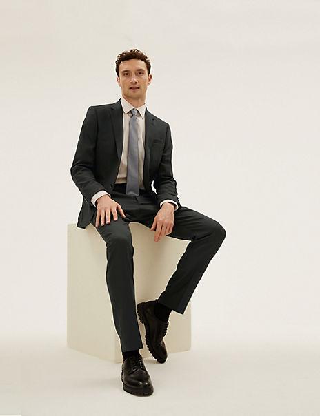 Black Slim Fit Wool Blend Textured Suit