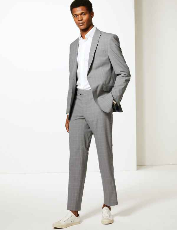 059a5aa5 Grey Checked Slim Fit Suit