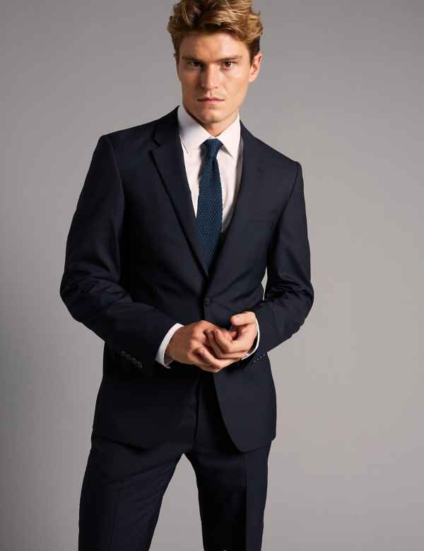 Navy Tailored Fit Italian Wool Suit af950190e828