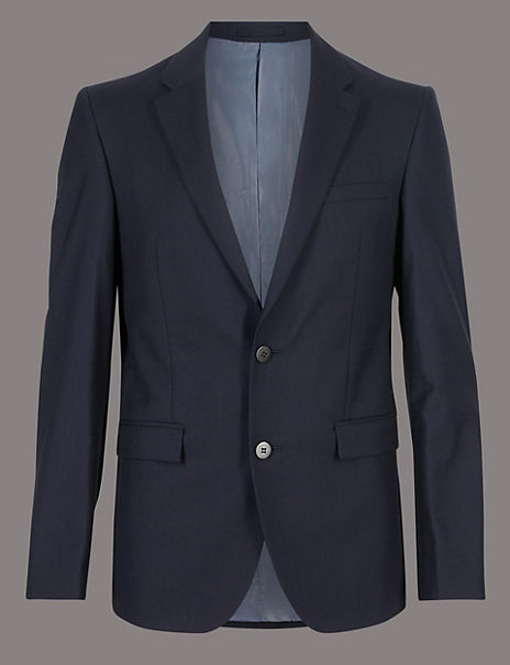 Navy Tailored Fit Italian Wool Suit