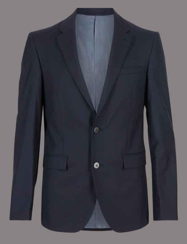 e3e6ba6d Navy Tailored Fit Italian Wool Suit | M&S