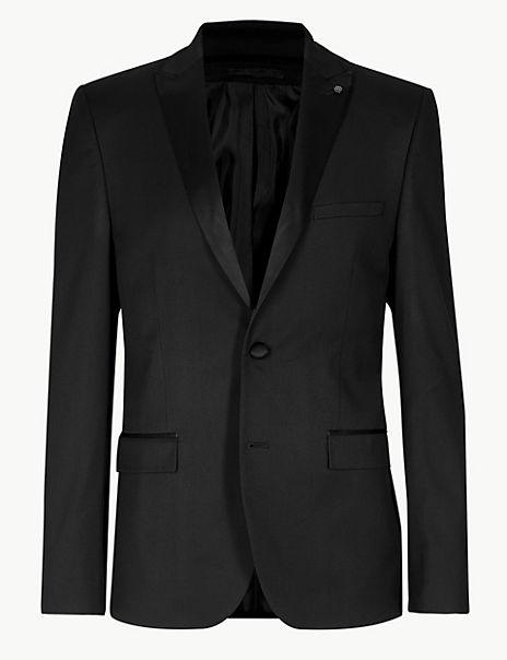 Black Textured Skinny Fit Suit