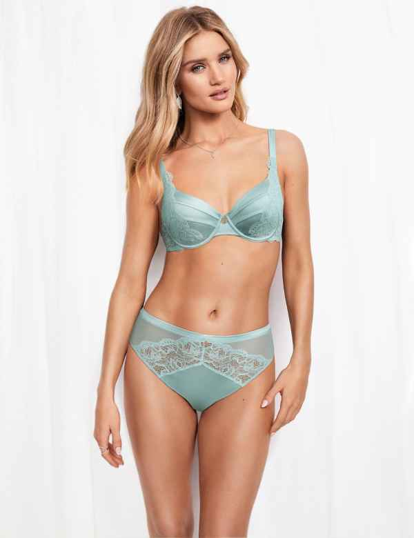 Lurex and lace embroidered bra and knicker set 34-42D