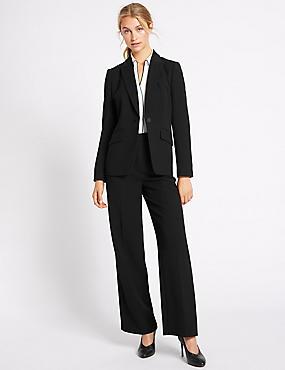 Crepe Jacket & Wide Leg Trousers Suit Set
