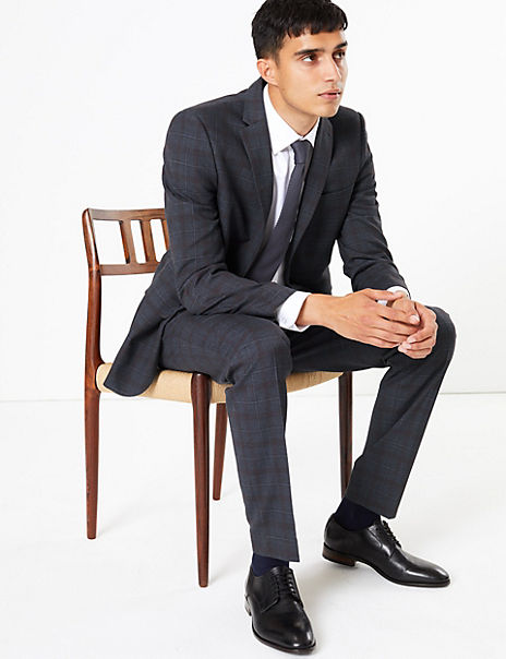 Indigo Checked Skinny Fit Suit with Stretch