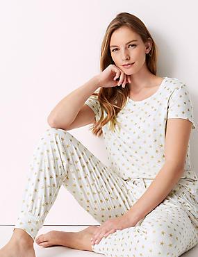 Glitter Star Print Short Sleeve Pyjama Set, , catlanding