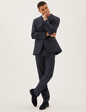 Regular Fit Checked 3 Piece Suit