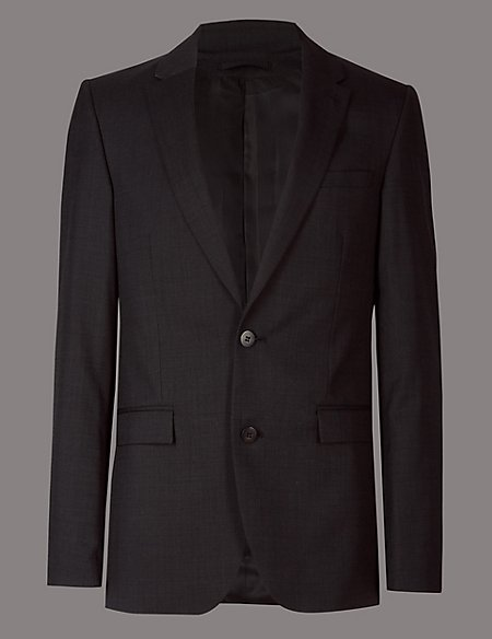 Charcoal Tailored Fit Italian Wool 3 Piece Suit