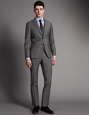 Grey Slim Fit Suit with Waistcoat