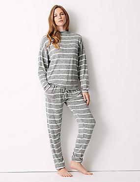 Striped Long Sleeve Pyjama Set, , catlanding