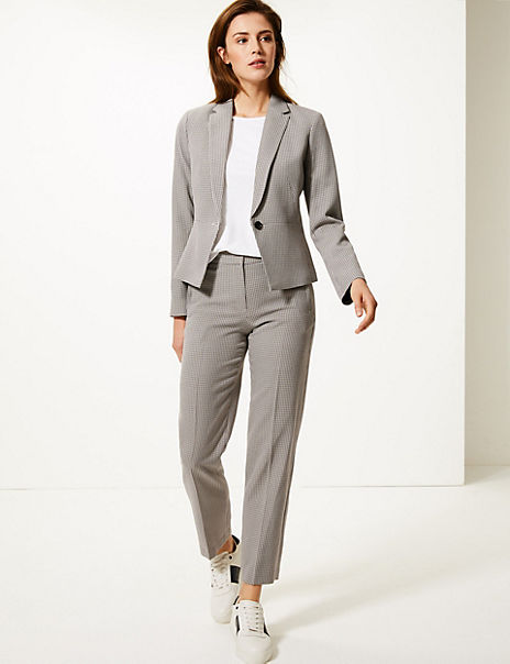 Dogtooth Checked Blazer & Trousers Suit Set