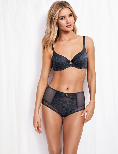 Mesh & Lace Underwired Bra Set with A-E