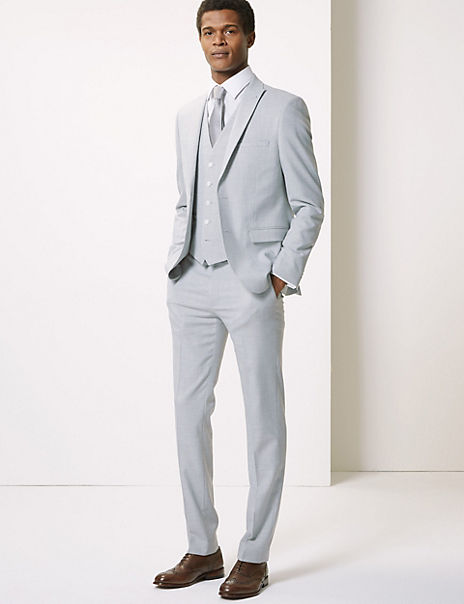 Grey Skinny Fit 3 Piece Suit