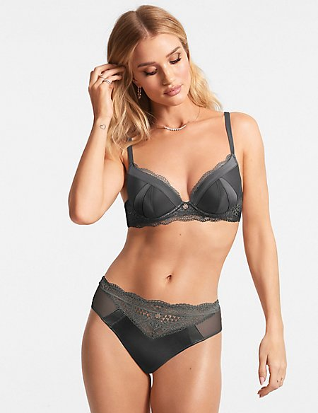Silk & Lace Padded Plunge A-E
