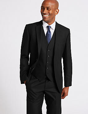 Black Tailored Fit 3 Piece Suit