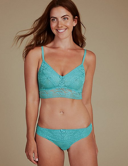 2 Pack Lace Embroidered Set with Non-Padded Bralets