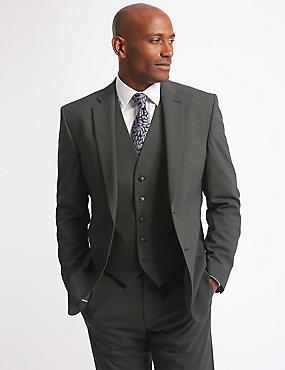Charcoal Textured Regular Fit 3 piece suit