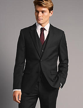 Black Tailored Fit Italian Wool 3 Piece Suit