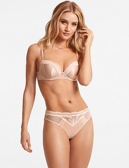 Silk & Lace Set with Padded Balcony A-E