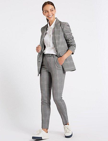 Checked Blazer & Slim Leg Trousers Suit Set