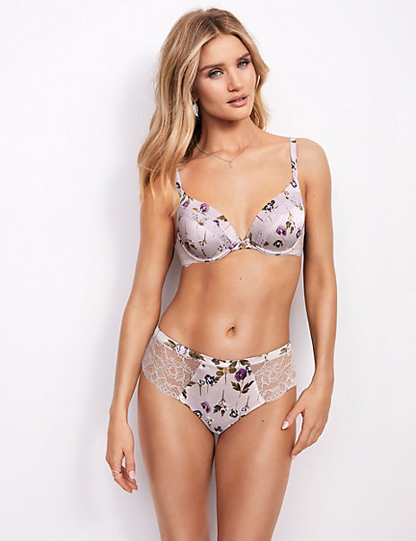 Silk & Lace Pansy Print Set with Plunge Bra
